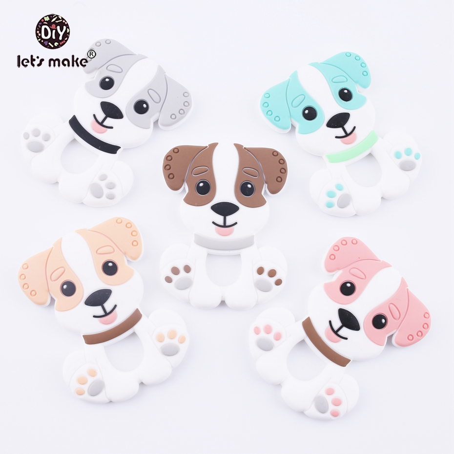 Lets Make Pendant For Teething Necklace Baby Teether Lovely Dog Safe And Non-toxic 2pc Peachy DIY Accessories Silicone Teether