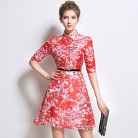 Quality Red Dress Women 2016 Summer Retro Chinese Style Ethnic Floral Printed Half Sleeve Slim High