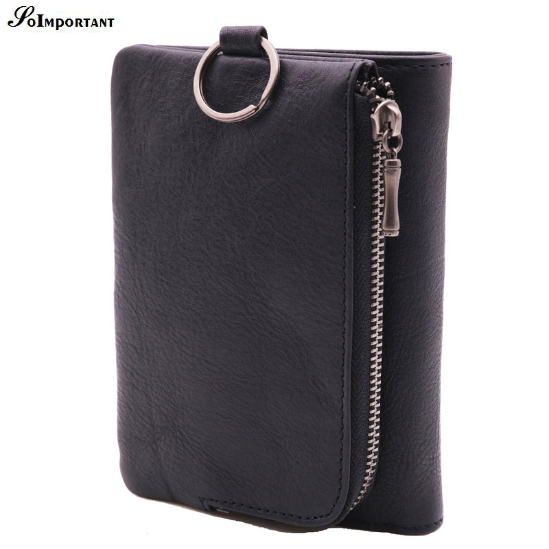 Vintage Genuine Leather Men Wallets Small Zipper Men Walet Portomonee Clutch Male Short Coin Purse Luxury Brand Perse Carteira