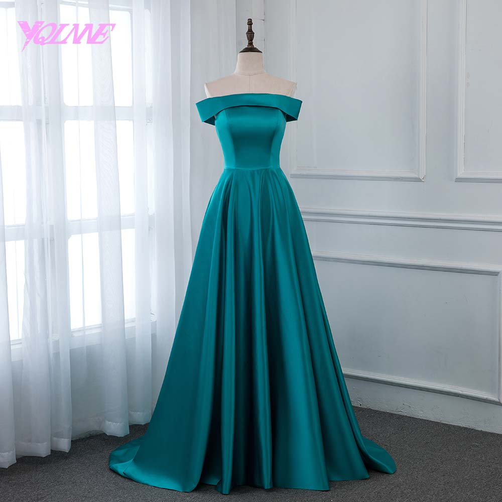 YQLNNE 2019 Off The Shoulder Long Prom Dresses Turquoise Satin Formal Evening Gown Women Dress Zipper Back YQLNNE