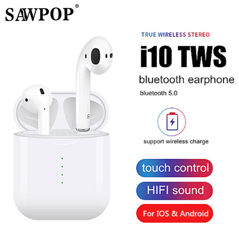 i10 tws Bluetooth Earphone Wireless earphones Touch control Earbuds 3D Surround Sound Charging case for all