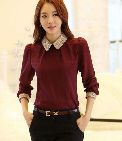 Новинка весны, модная женская элегантная тонкая Базовая рубашка с длинным рукавом, шифоновая рубашка, блузка, женские милые топы, camisas blusa - Цвет: Красный