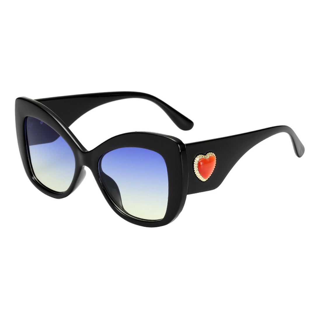 2019 New Fashion Sculpted Cat Eye Sunglasses Women Ladies Oversized Luxury Brand Deisgner Red Heart Sun Glasses For Female Black in Women 39 s Sunglasses from Apparel Accessories