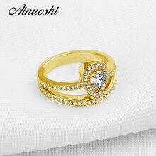 AINUOSHI 10K Solid Yellow Gold Wedding Ring Pear Shape Simulated Diamond Aneis Feminino Fine Jewelry NSCD Women Engagement Rings