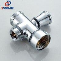 SOGNARE Brass 1 2 Bathroom Shower Faucet Tee Connector Chrome 3 Way Divert Er Toilet Bidet