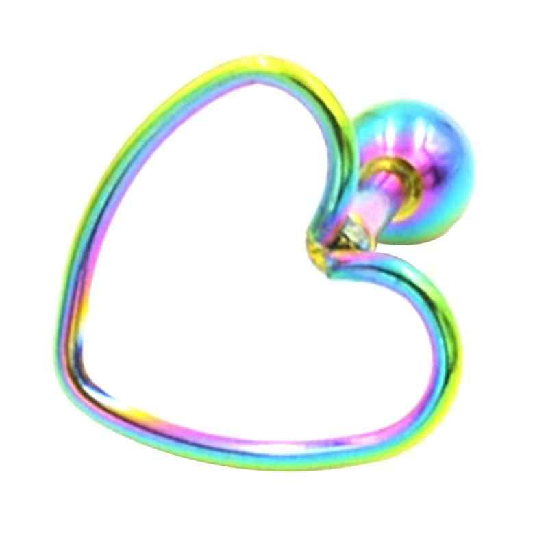 1 قطعة واحدة هيبوالرجينيك الفولاذ المقاوم للصدأ شكل قلب ثقب القرط مربط مجوهرات الأذن العظام مسمار للنساء الفتيات جديد بالجملة
