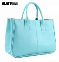 Hot 2016 Women Candy Color Handbags Ladies High Quality Handbag Shoulder Bag Casual Tote Bags F372