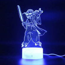 Yoda Lamp Illusion Remote Control 3d Table Lamp Led Night Light Kids Room Decoration цена и фото