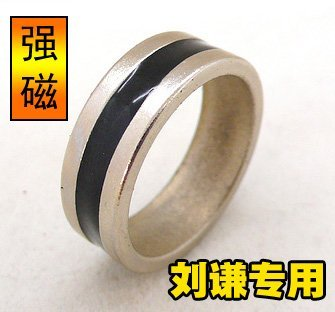Silver black ring -magnetic ring-magic props-magic tricks-20pcs/lot