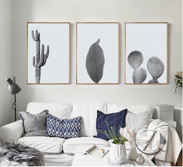 Nordic small fresh cactus 3 pieces canvas paintings frameless ...