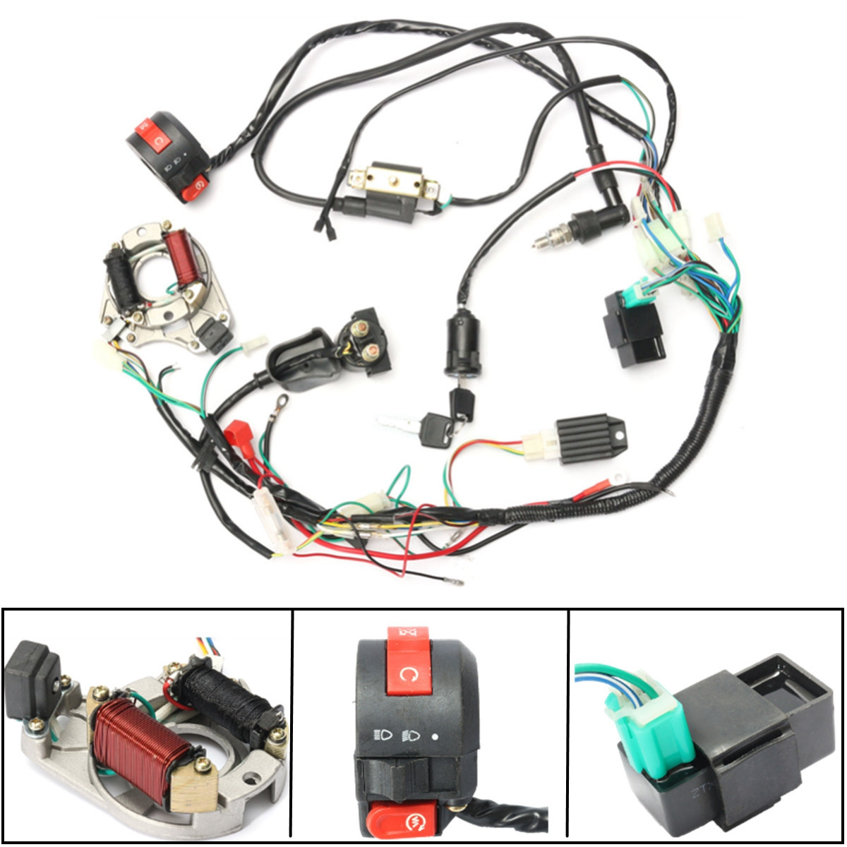 CDI Ignition Coil Wire Harness Stator Assembly Wiring for ATV Electric Quad 50CC 70CC 90CC 110CC 125CC