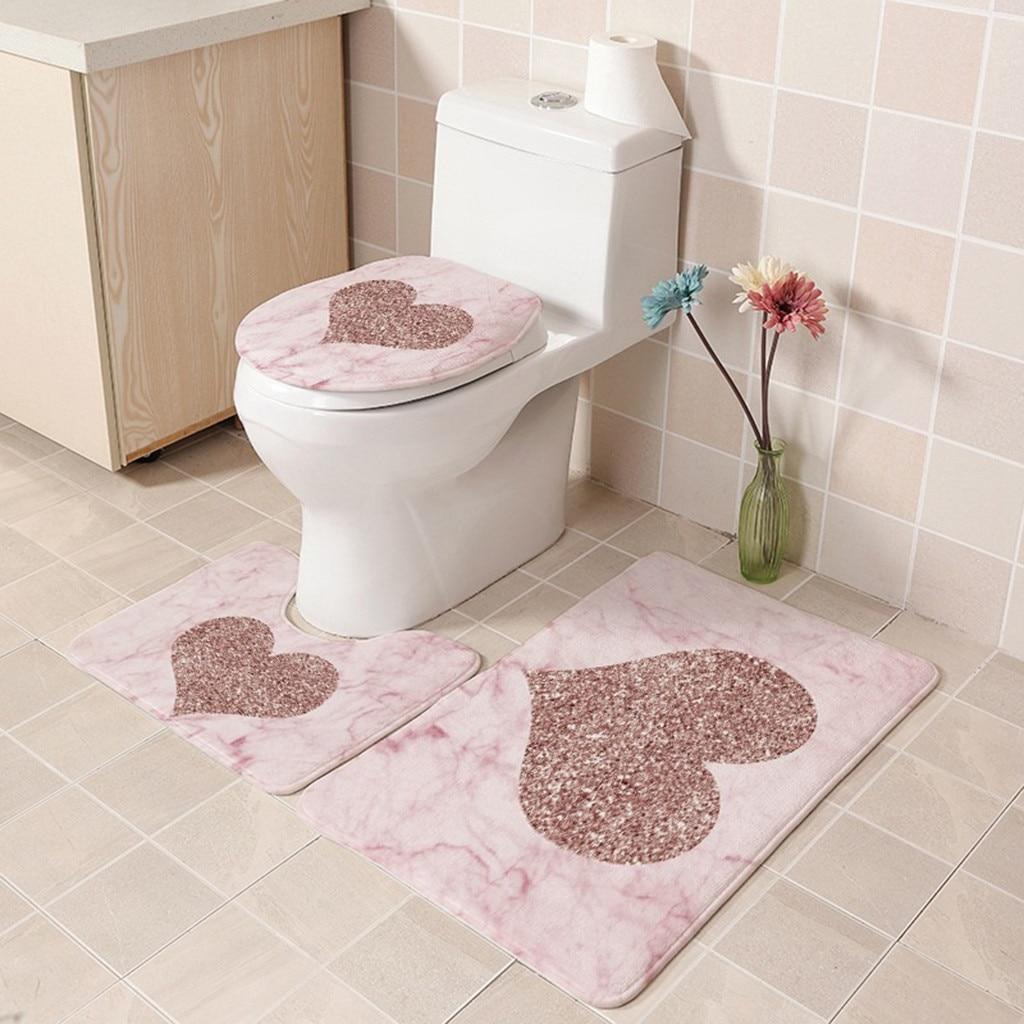 3pcs Bathroom Mat Set Marble Texture Pink Shinny Love Heart Carpets Soft Flannel Anti-Slip Bath Mat Floor Rug Toilet Lid Cover