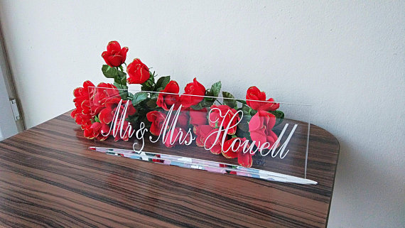 Mr And Mrs Sign, Engraved Sign, Laser Cut, Wedding Table Sign, Clear Acrylic, Elegant Signs, Modern Sign, Freestanding Sign,
