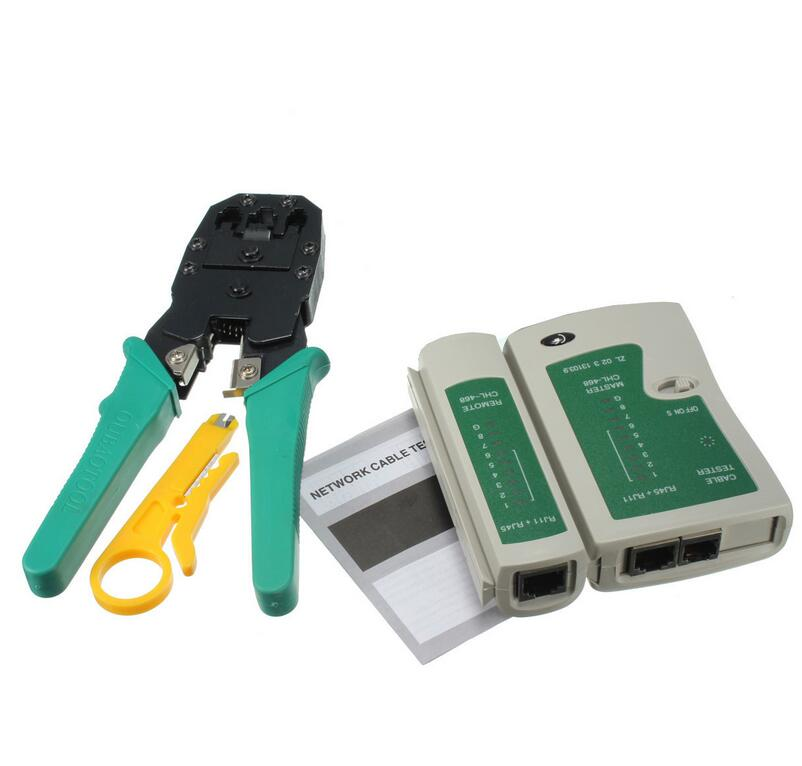 Portable LAN Network Kit Utp Cable Tester AND Plier Crimp Crimper Plier With Plug Wire Stripper Clamp PC Networking test Tool