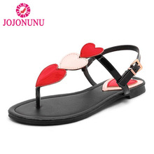 Купить с кэшбэком JOJONUNU Summer Women Flats Sandals Flip Flop Ankle Strap Sandals Fashion Beach Vacation Gladiator Shoes Women Plus Size 31-46