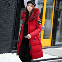 2018 Winter Women's Down Parkas Winter Jacket Big Fur Thick Slim Long Coat Fashion Zipper Hooded Female Long Outerwear C88023L