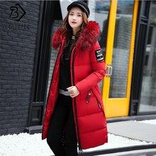 2018 зимние Для женщин вниз парки зимняя куртка большой меховой толстый тонкий длинное пальто на молнии с капюшоном Женский Длинная Верхняя одежда C88023L