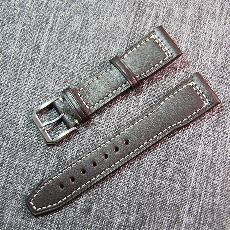 Prix pour 21mm Bandes de Montre De Courroie Véritable de Montre En Cuir Bande pour IWC Bracelets avec Boucle en acier Inoxydable