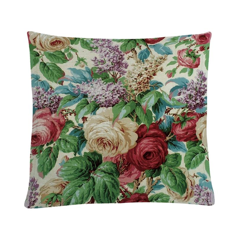 Flowers Pattern Cushion Cover 45*45cm Pillows Cases For Bed Sofa Chair Throw Pillows Decoration Cotton Linen Pillowcovers