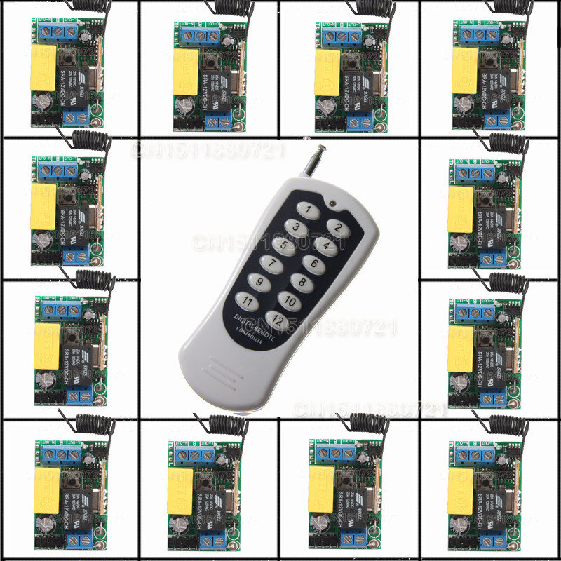 220V 12CH Wireless Remote Control Switch System Light/Lamp LED SMD Access Remote Control System ON OF Toggle Momentary Latched 12v 4ch relay wireless remote control switch system led indicator momentary toggle latched on off switch for led smd light lamp
