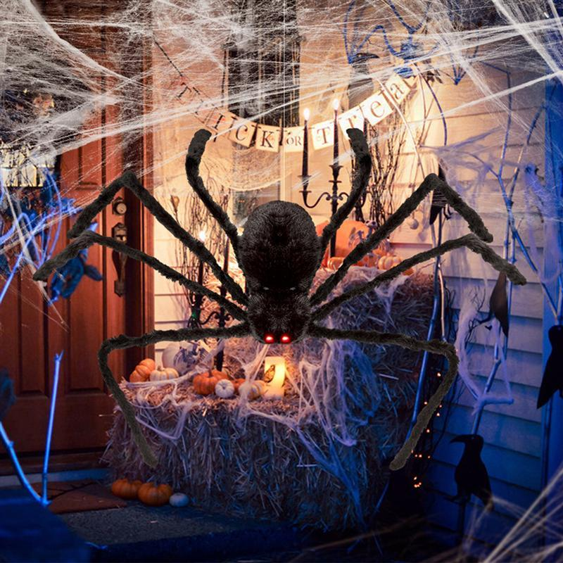 49 Inch 125CM Black Realistic Fake Plush Spider Puppet Prank Jokes Toy Halloween Props Spider Funny Toy For Party Halloween