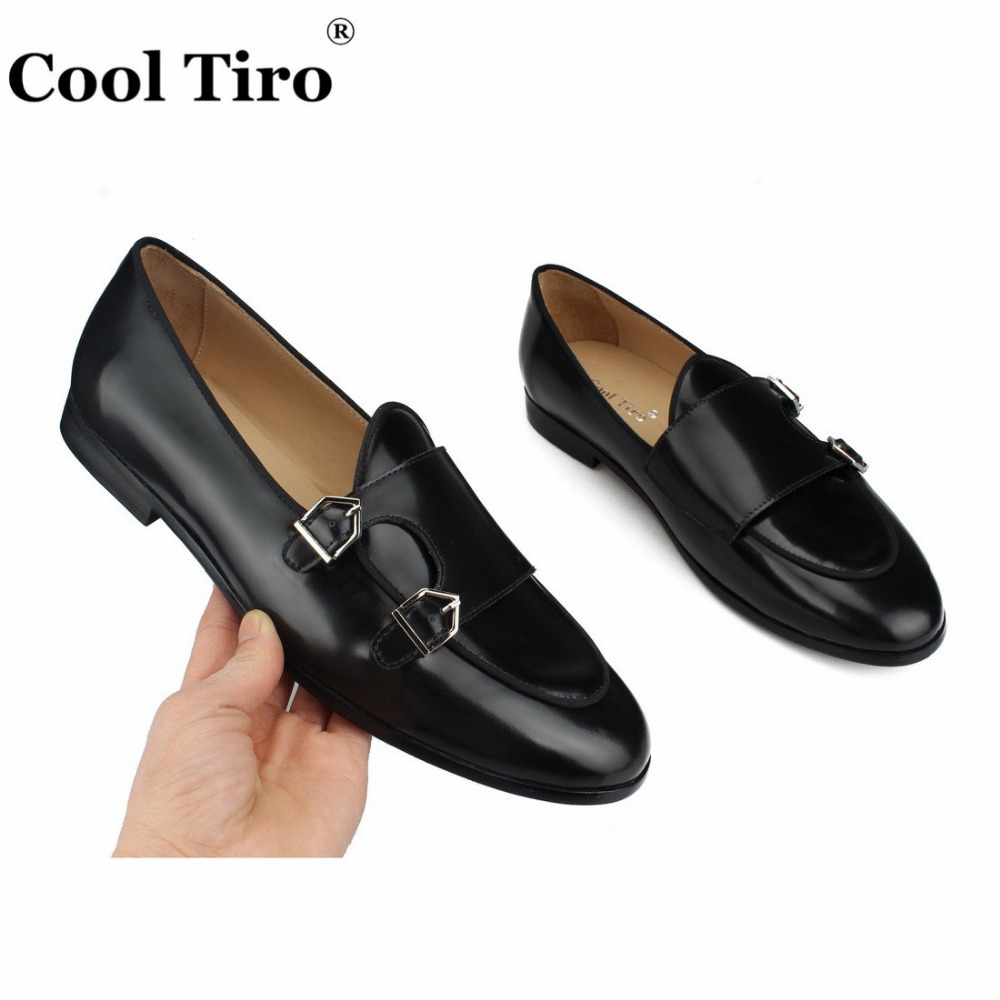 POLISHED LEATHER DOUBLE-MONK LOAFERS Black (6)