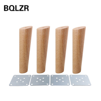BQLZR 20cm Height Wood Color Oblique Tapered Reliable Wood Furniture Cabinets Legs Sofa Feets Pack Of