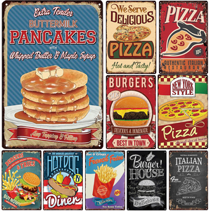 [inFour+] Pancakes Plaque Metal Vintage Burgers Metal Sign Hot Dog Tin Sign Pizza Metal Poster French Fries Vintage Posters