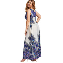 Plus Size 5XL Sexy V Neck Printed Bohemia Boho Maxi Long Dress Elegant Evening Party Dress Femme