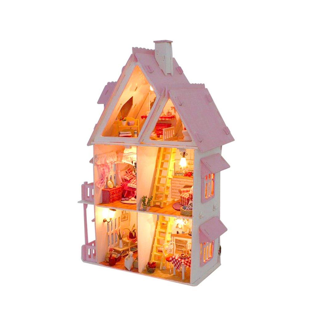hot! OCDAY Beautiful Dollhouse DIY 3D Miniature Doll House My Little House Model Building Kit Wooden Furniture Toy Birthday Gift house beautiful 500 bathroom ideas