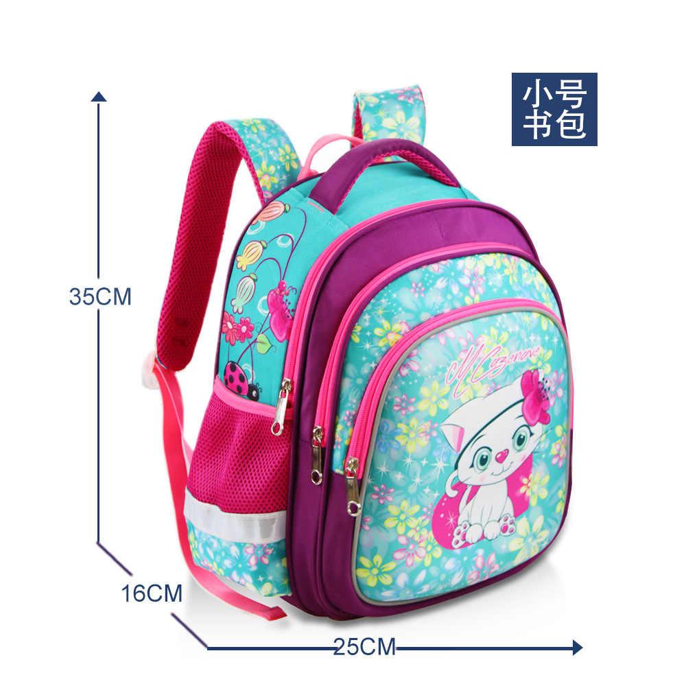 De moda cat impresión de las bolsas de la escuela los niños de dibujos animados Mochila primaria Mochila ortopédicos princesa mochilas Mochila