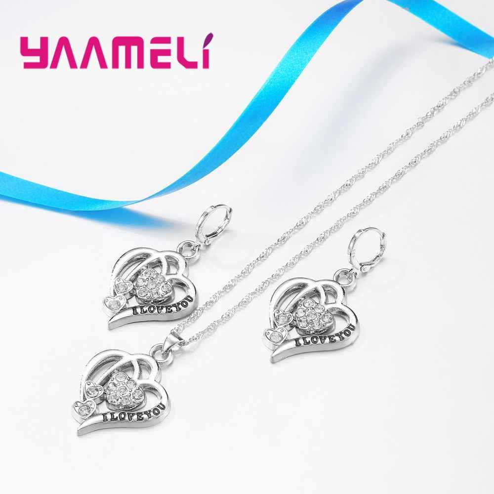 New New Fashion Double Heart With Love You Shape Necklace Earrings Sets Romantic Jewelry Women Gift 925 Sterling Silver