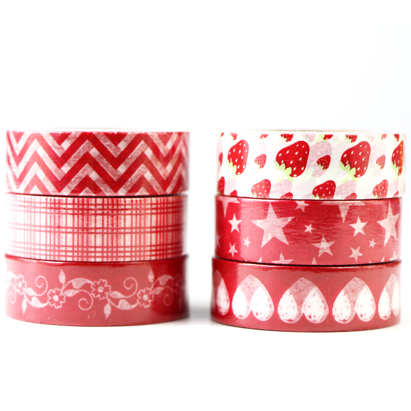1 Roll Red Strawberry Star Patterns Washi Tape Decoration Paper Masking Tapes Label Adhesive Tape DIY Scrapbook Sticker,15mm*10m