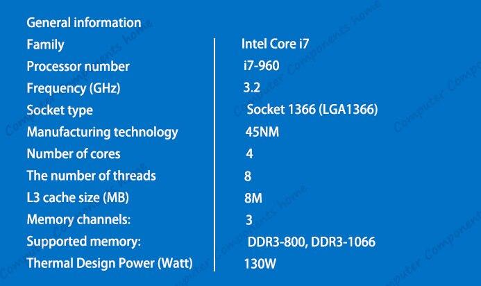 Intel core i7 960 INTEL i7-960 intel core i7 960 Prozessor 3,2 GHz Quad Core LGA 1366 prozessor Desktop CPU garantie 1 jahr