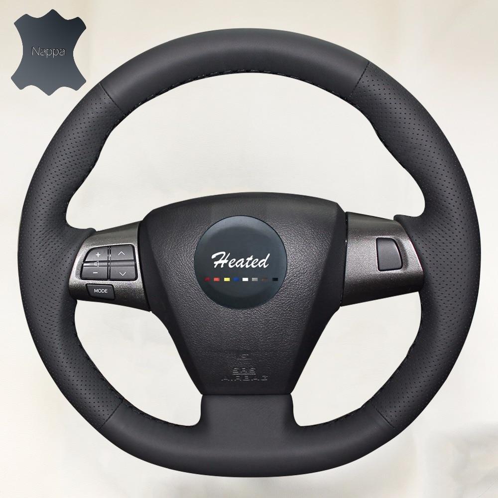Diy genuine leather auto steering wheel cover for toyota corolla 2011 2012 2013 rav4 2011 2012