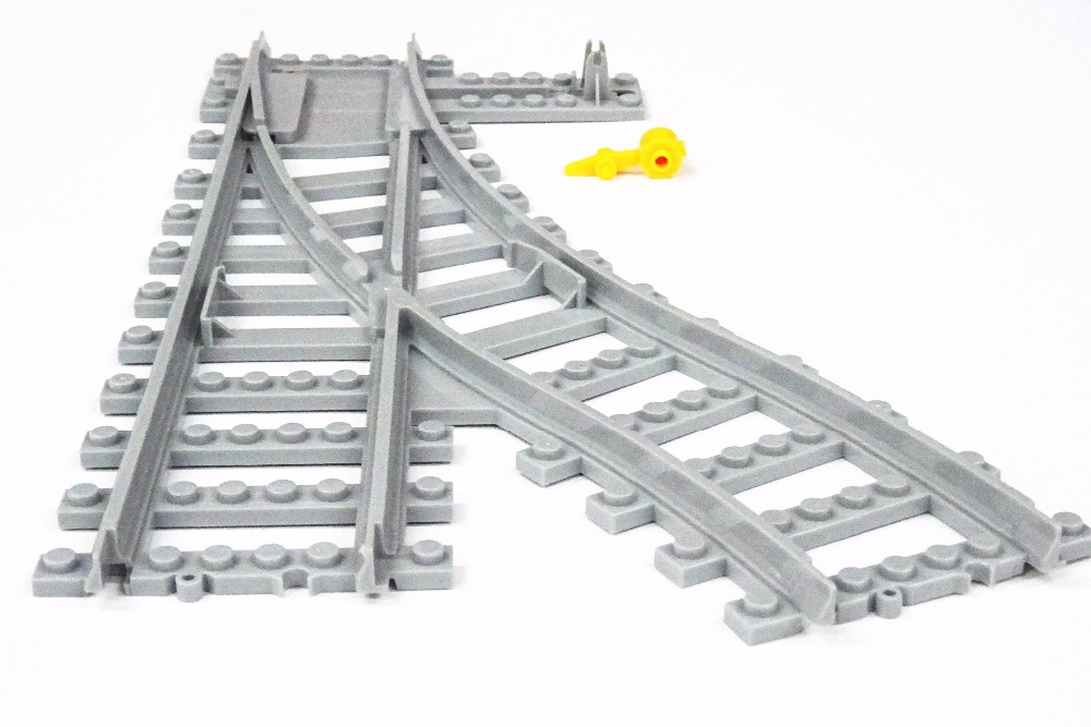 Купить с кэшбэком 20 Pcs/Lot City Trains Train Track Rail Straight Curved track rail Model Building Blocks Set Bricks Kids Toys Compatible