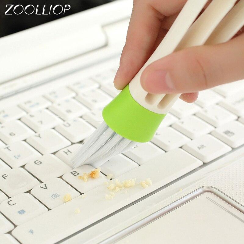 1 PC cepillo de limpieza de coche de doble extremo de ventilación de coche limpiador de hendidura de cepillo de persianas de limpieza de teclado limpiador de hogar