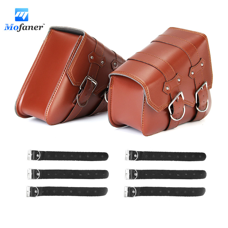 Mofaner Retro Motorcycle Saddle Bags Side L+R Storage For Harley-Sportster XL883 XL1200 motorcycle cnc skull head hand brake clutch lever for harley 883 xl1200 48 sportster 2014 2016