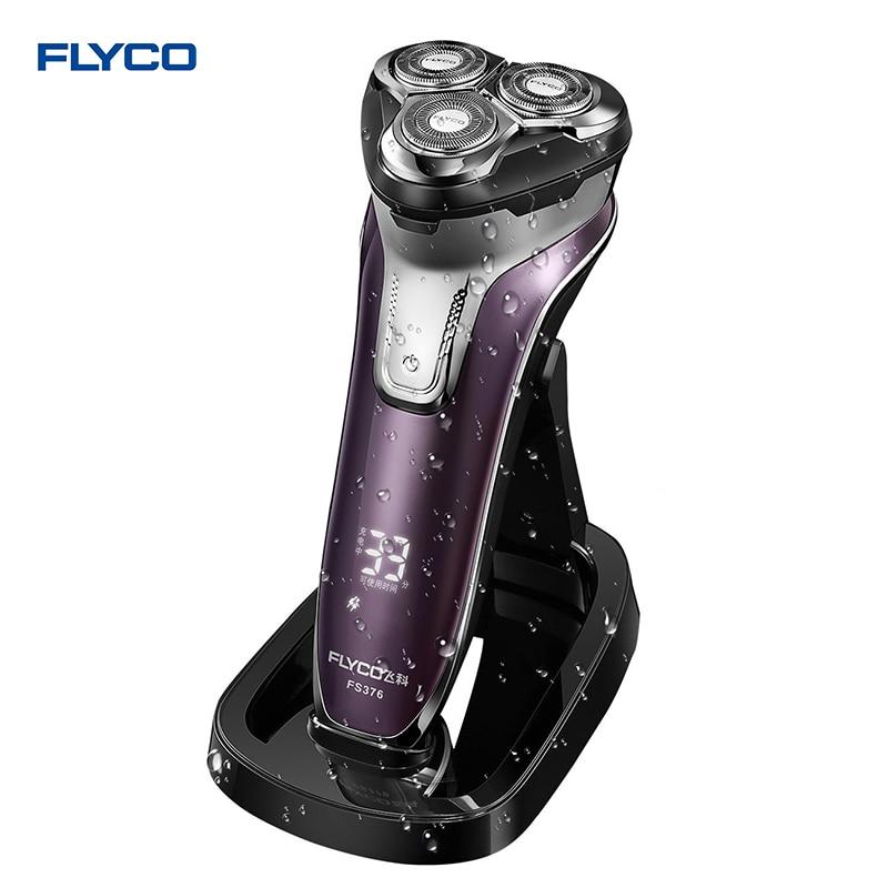 Flyco 3D flottant tête Rechargeable Portable corps lavable Rasoir Électrique Led Lumière Charge Rapide Triple Lame barbeador FS376
