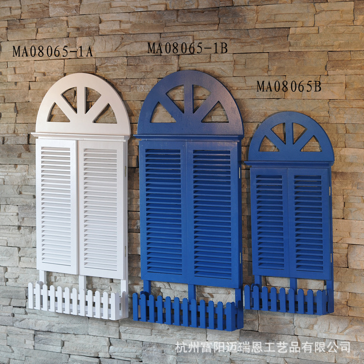 False Window Blinds Mediterranean Wall Hangings Mural Decoration Hot Selling Wooden Window Wall Mural Wedding Decoration Crafts