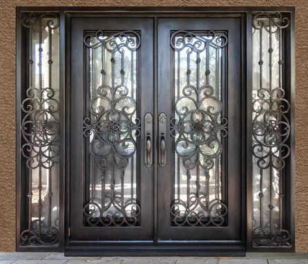 купить двойные двери с транцем французские входные двери на