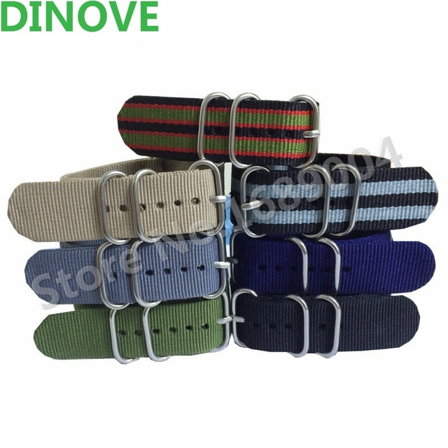 DINOVE NATO strap BLACK GRAY NAVY 16mm,18mm,22mm,24mm Military Diver's watch ban