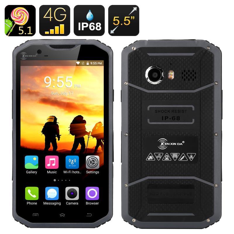 Prueba de Kenxinda W8 4G 5.5 ''Andriod 5.1 Smartphone IP68 A Prueba de agua A P
