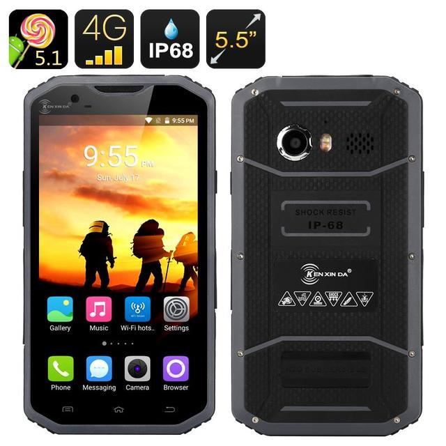 2016 Prueba de Kenxinda W8 4G 5.5 ''Andriod 5.1 Smartphone IP68 A Prueba de agua A Prueba de Golpes MTK6753 8 Octa Core 2 GB RAM Teléfono Móvil