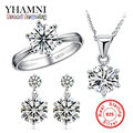 GALAXY Fashion 100% 925 Sterling Silver Ring Necklace Earrings Jewelry Sets 6mm CZ Diamond Bridal Wedding Sets For Women YS044