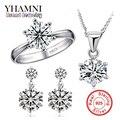 Galaxy moda 100% anillo de plata de ley 925 aretes collar de sistemas de la joyería de 6mm cz diamond bridal wedding sets para las mujeres ys044