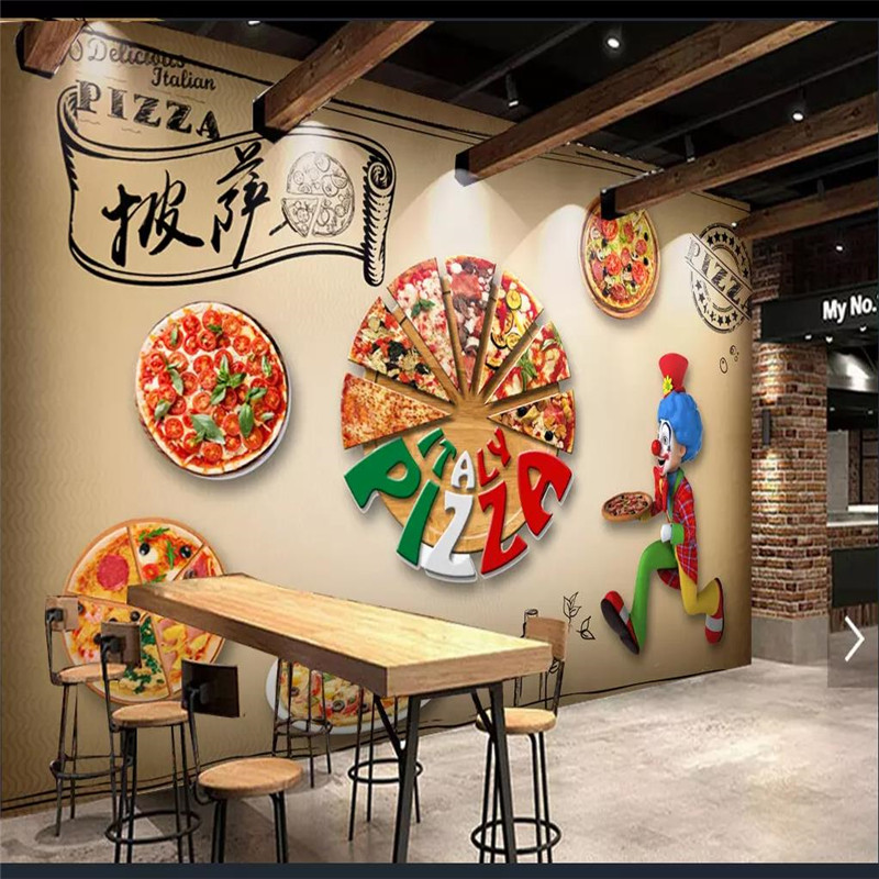 Us 8 84 39 Off Custom 3d Wallpaper Mural Pizza Shop Western Restaurant Hotel Background Wall Advanced Waterproof Material In Wallpapers From Home