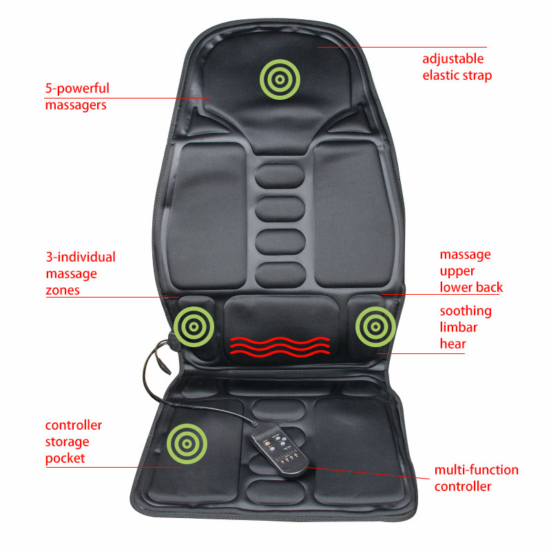 AC & DC adaptors for home, auto and office uses Back Massage Chair Heat Seat Cushion Neck Pain Lumbar Support Pads massage chair cushion for neck shoulder back waist with far infrared heating and vibration massage heat seat for home car office