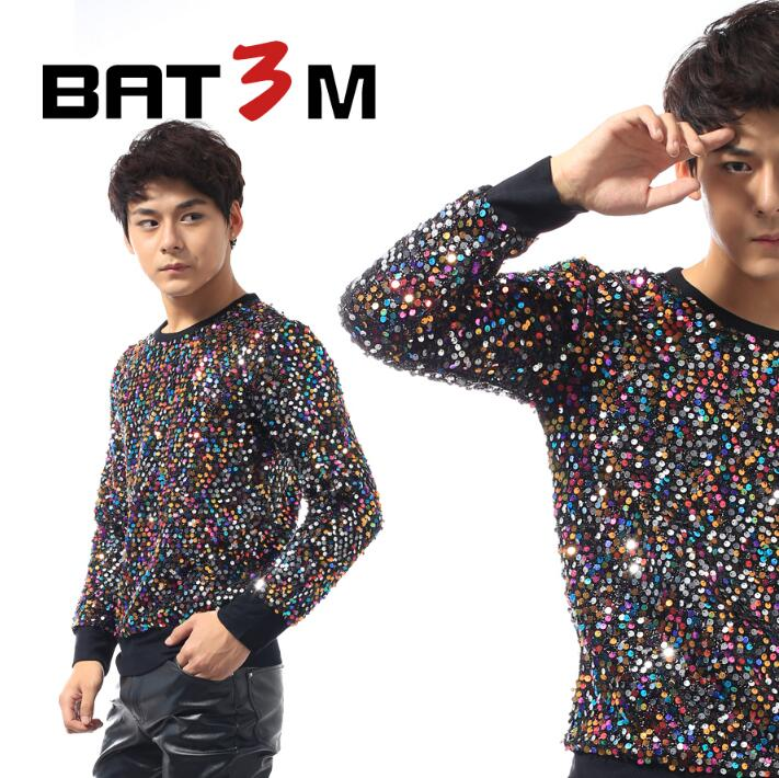 Punk Slim Sexy Sequins Shirt Men Long Sleeve Multicolor Paillette Shirt Mens Personality Stage Singer Dance Fashion Original
