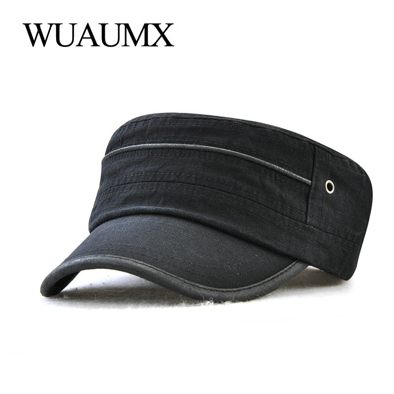 Wuaumx Casual Unisex Military Hats Men 100% Cotton Summer Flat Top Military Cap For Women Army Cap Solid Casquette Militaire